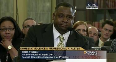 Top NFL exec breaks down during Senate domestic violence hearing