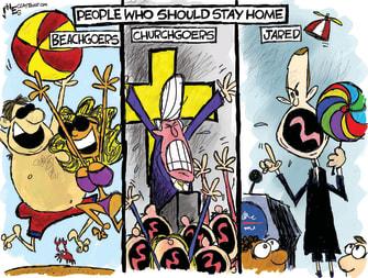 Political Cartoon U.S. People who should stay home Jared Kushner beachgoers churchgoers CDC