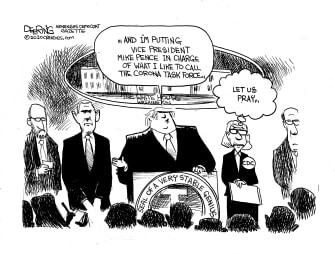 Political Cartoon U.S. Trump Nancy Messonnier Alex M. Azar II Pence Coronavirus pandemic briefing statement