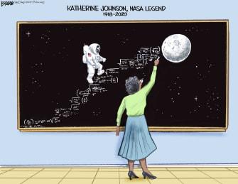Editorial Cartoon U.S. Katherine Johnson RIP to the stars NASA legend math