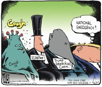 Political Cartoon U.S. cough national emergency economy Trump