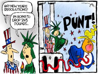 Political Cartoon U.S. Trump loss new years resolutions