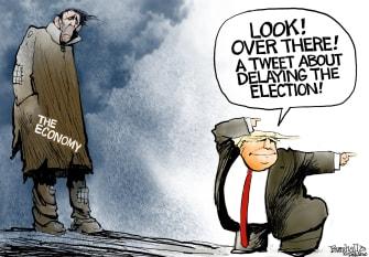 Political Cartoon U.S. Trump election delay tweet