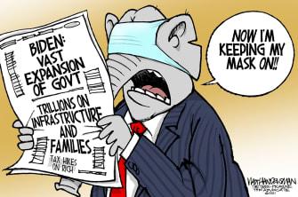 Political Cartoon U.S. biden gop big government