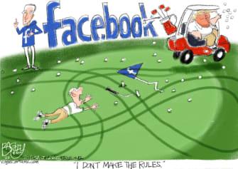 Political Cartoon U.S. Trump Facebook Mark Zuckerberg