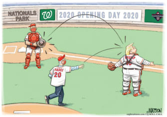 Political Cartoon U.S. Trump Fauci Nationals MLB opening day first pitch