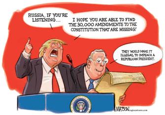 Political Cartoon U.S. Trump senate impeachment Mitch McConnell