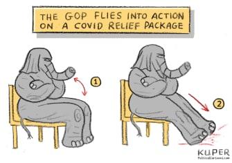 Political Cartoon U.S. GOP covid relief