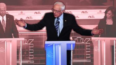 Sen. Bernie Sanders, Joe Biden, and Sen. Kamala Harris at the debate.