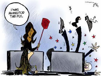Political Cartoon U.S. Harris Pence fly debate