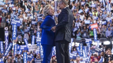 Hillary Clinton and President Obama.