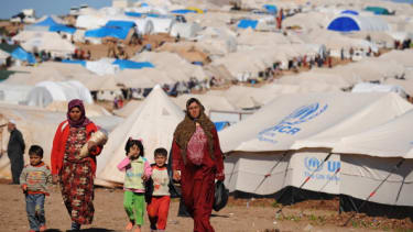 Syrian refugees at a UN camp.