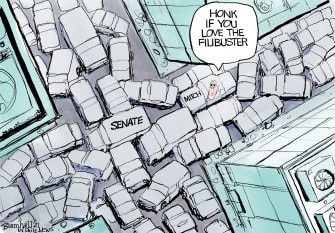 Political Cartoon U.S. McConnell filibuster