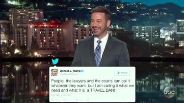 Jimmy Kimmel mocks Trump on travel ban tweets