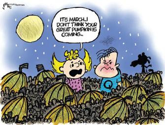 Editorial Cartoon U.S. qanon trump peanuts great pumpkin