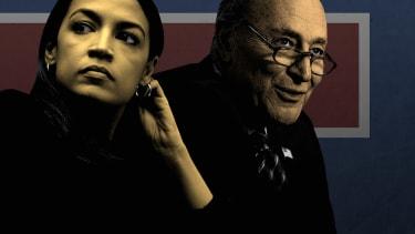 Alexandria Ocasio-Cortez and Chuck Schumer.