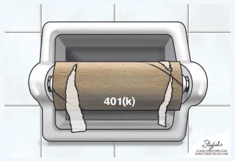 Editorial Cartoon U.S. 401k toilet paper down the toilet