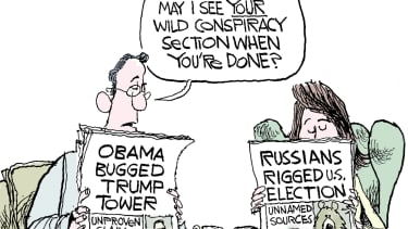 Political Cartoon U.S. Russia rigged election Trump Obama wiretap news conspiracy theory