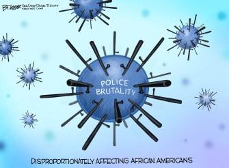 Editorial Cartoon U.S. coronavirus George Floyd police brutality