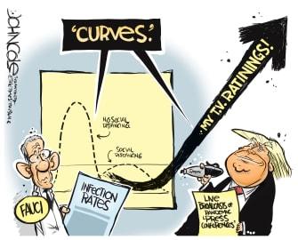 Political Cartoon U.S. Trump Anthony Fauci Coronavirus TV ratings social distancing curves