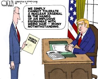 Political cartoon U.S. Trump North Korea nuclear crisis Kim Jong Un