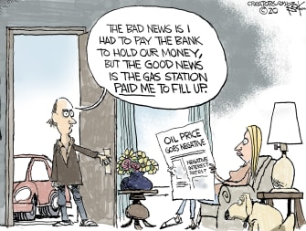 Editorial Cartoon U.S. paid money to bank gas paid you to fill up