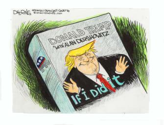 Political Cartoons U.S. Trump Dershowitz impeachment book cover