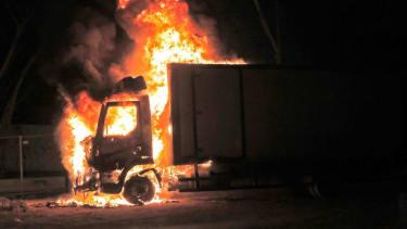 A truck on fire in Lod, Israel.
