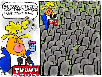 Political Cartoon U.S. Trump COVID deaths RNC
