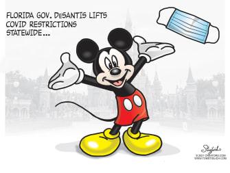 Editorial Cartoon U.S. florida covid restrictions disney mickey mouse