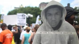 People gather at a rally honoring Trayvon Martin at Union Square in Manhattan on July 14.