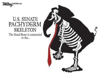 Political Cartoon U.S. gop spineless