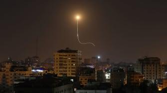 An Israeli missile above Gaza.