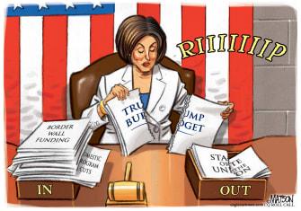 Political Cartoon U.S. Pelosi Trump budget rip