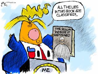 Political Cartoon U.S. Trump Bolton book classified