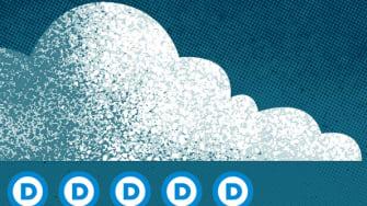 A cloud raining the Democratic symbol.