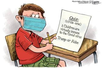 Editorial Cartoon U.S. children coronavirus school Trump