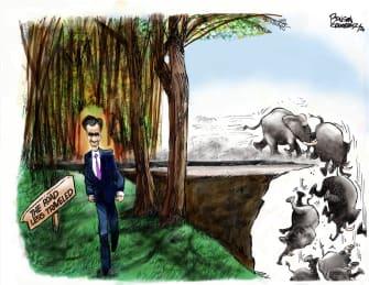 Political Cartoon U.S. Romney GOP impeachment road less traveled
