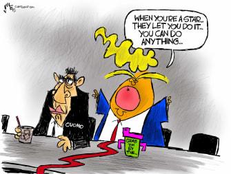 Political Cartoon U.S. trump cuomo sexual harassment