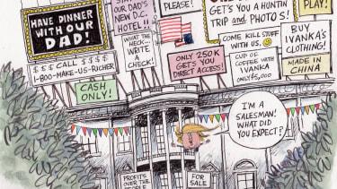 Political cartoon U.S. Donald Trump White House salesman