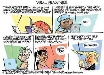 Political Cartoon U.S. Trump COVID-19 media viral headlines
