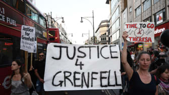 Protesters in London after the Grenfell apartment fire