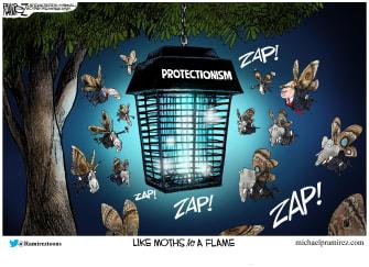 Political Cartoon U.S. Trump Democrats Republicans Moths To Protectionism