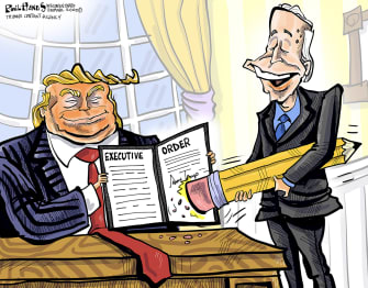Political Cartoon U.S. Trump Biden executive order