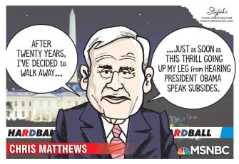 Political Cartoon U.S. Chris Matthews resigns MSNBC Obama