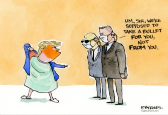 Political Cartoon U.S. Trump Secret Service COVID