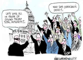 Political Cartoon U.S. Trump Congress Republicans democracy voting corruption