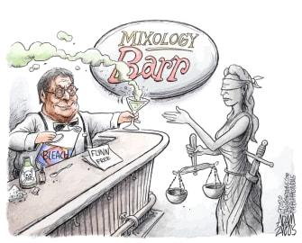 Editorial Cartoon U.S. Bill Barr justice Flynn exoneration