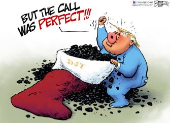 Political Cartoon U.S. Trump Stocking Coal The Perfect Call