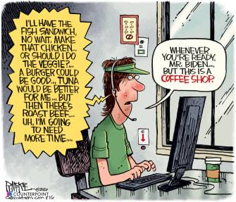 Political Cartoon U.S. Joe Biden Presidential Election Gaffes Mistakes